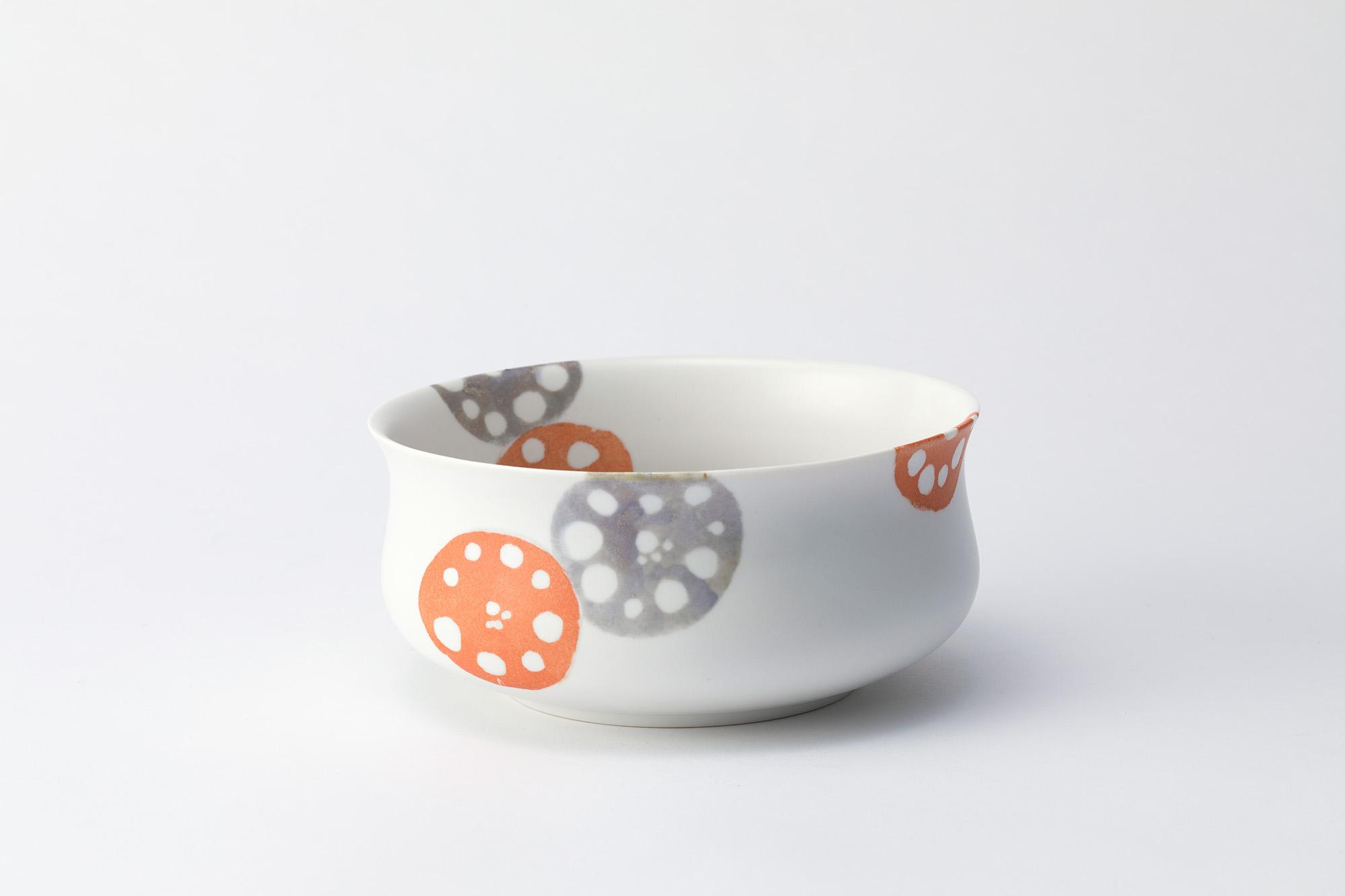 色絵銀彩鉢「舟道の蓮根」