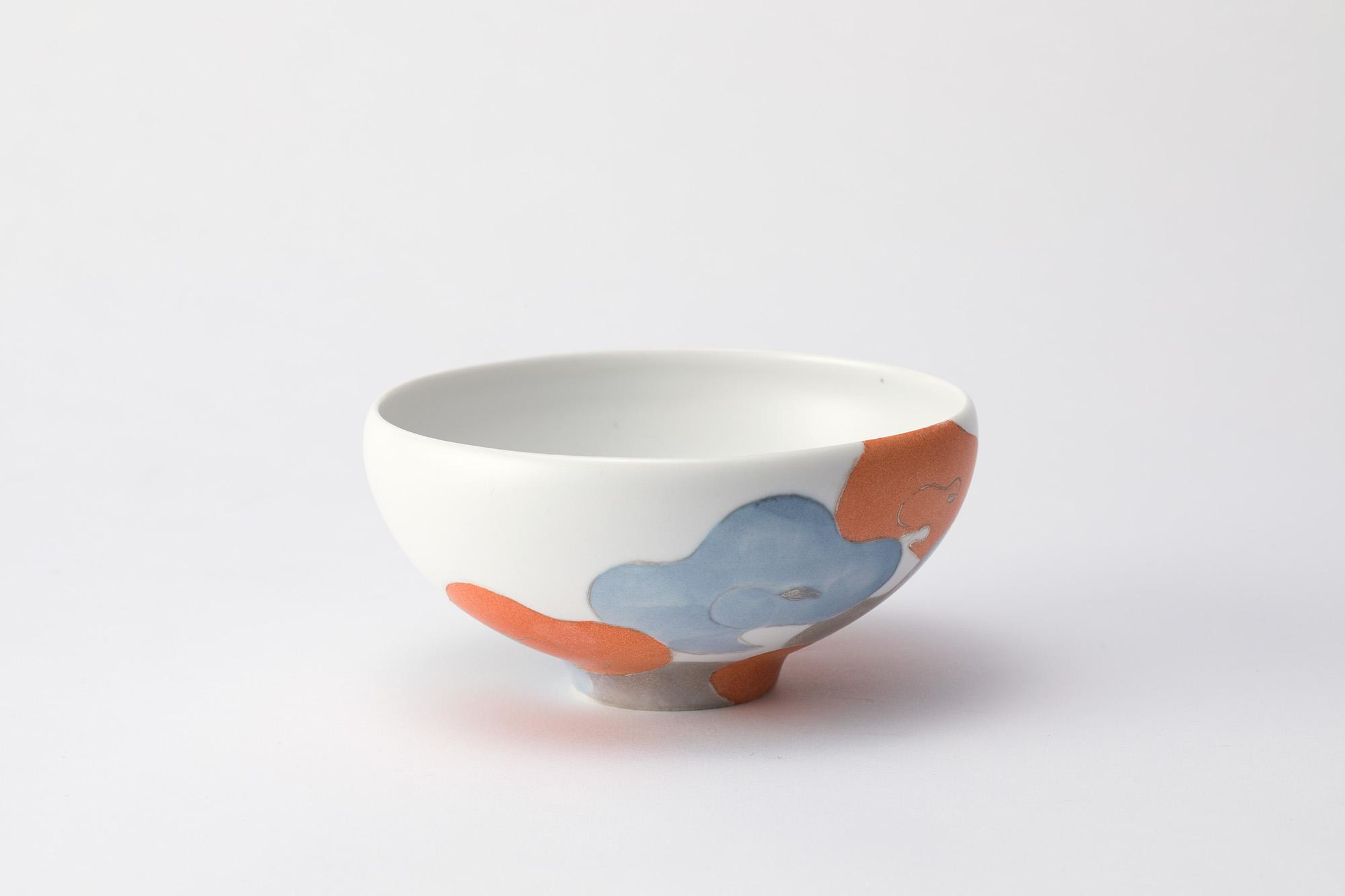 色絵銀彩碗「浮雲」